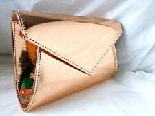 NEW ROSE GOLD FAUX PATENT LEATHER  EVENING DAY CLUTCH BAG SHOULDER WEDDING PROM