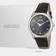 Authentic Seiko Core Solar Black Leather Strap Watch SNE491