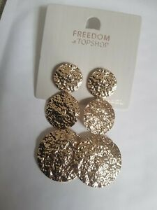 Freedom At Topshop Gold Metallic Round Drop Chain Earrings