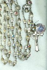 HTF VINTAGE STERLING SILVER 1960'S AB CRYSTAL GLASS ROSARY TULIP CUP CAPS