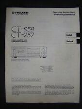 Bedienungsanleitung für Tape Deck Pioneer CT-959, CT-757 Operating Instructions