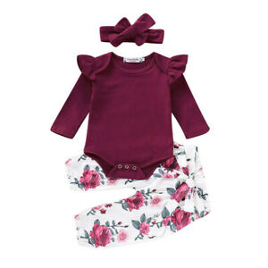 Newborn Baby Girls Ruffle Romper Tops Floral Pants Headband Outfits Clothes Sets