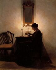 Young Woman Reading Book By Candlelight Victorian Painting Real Canvas Art Print