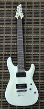 Schecter C-7 Deluxe Electric Guitar 7 String White With Hard Case Great Shape