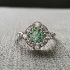 Green Moissanite Engagement Ring in 14K White Gold Art Deco 2Ct  Halo Round ZYJ