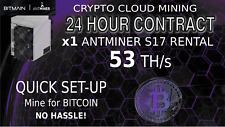 24 Hour Cloud Mining Contract 53TH/s Bitmain S17 Antminer Rental BITCOIN HASHING