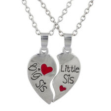 Lux Accessories Silver Tone Big Sis Lil Sis Broken Heart BFF Necklace Set 2 PC