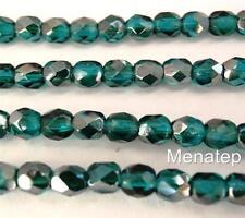 50 4mm Czech Glass Firepolish Beads: Viridian - Celsian