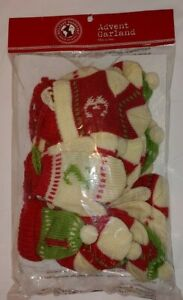 "World Market Advent Garland 94"" Long Knit Mittens Hats & Socks NIP Thailand"