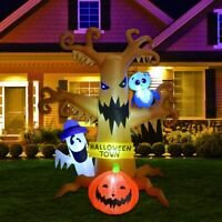 8 Foot Halloween Inflatable Ghost Tree Blow Up Pumpkin Owl Lighted Outdoor Decor