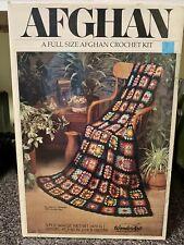 Vintage Unused Afghan Crochet Kit Full Size Wonder Art Needlecraft Granny