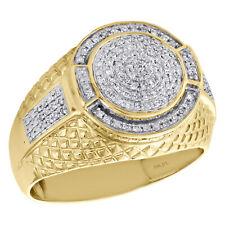 51f1576f64d4 10 Quilates Oro Amarillo Diamante Declaración Piny Anillo 16mm Step Vástago  Pavé