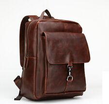 Men's Vintage Leather Backpack Rucksack Satchel School Bag Laptop Backpack