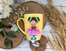 Ceramic Mug Girl Fimo Green Handmade Gift Decorated Kitchen New Coffee Cup
