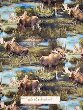 Moose Alaska Northwest Animal Wildlife Cotton Fabric CP55731 Helmsley Hill Yard