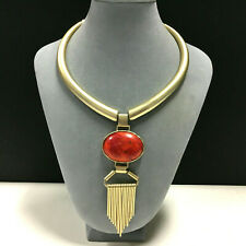 New CHICO'S Red Coral Pendant Egyptian Collar Necklace Satin Gold Plated WW4o