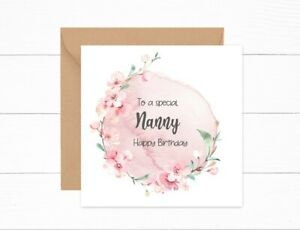 Personalised Birthday Card Nanny Nan Nannie Special Pink Wreath Watercolour