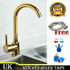 Gold Kitchen Sink  Mixer Taps Brass Luxury Gold Swivel Spout Tap Faucets //