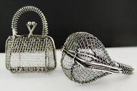 06825 Antiqued Silver Tone Retro Alloy Wire 3D Hollow Handbag Pendant Charm 2PCS