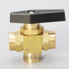 """Gas 3 way brass ball valve needle valve 3/8"""" NPT L port Panel Mount Oil Gas US"""