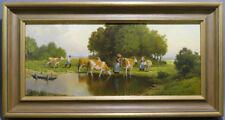 Hans Heinrich Koch,Mitte 20.Jhd.,Öl auf Platte,Kühe beim Viehtrieb,19,5x44,5 cm