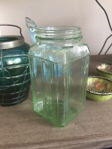 Vintage Australian Art Deco Uranium Green Depression Glass Kitchen Canister Jar