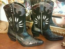 Van eli cowgirl boots 7 1/2M orig. $230.00 black/brown leather, barely worn