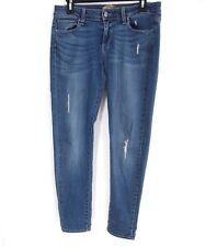 Paige Womens Jeans 28 Peg Skinny Distressed Dark Wash Blue Stretch Low Rise