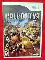 Call of Duty 3 COD - Nintendo Wii Game Complete 1 Owner Mint Disc