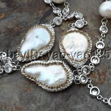 "K082105 30""  White Keshi Pearl Chain Necklace"