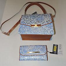 Brahmin Ophelia Blue Lyon Leather Floral Embosed Hand Shoulder Bag & Wallet NWT