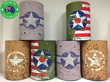 6x Military WWII WW2 USA INSIGNIA Designer Beer Can Stubby Holder Cooler Koozie