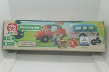 Playtive Junior Wooden Car Caravan Camping set for Wooden Rail Train & Road Sets