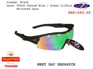 RayZor Black Sports Wrap Sunglasses Uv400 Blue Green Mirrored Lens (220)