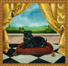 Original Oil on Board of a Pampered Pug Now in a Chic Bamboo Frame