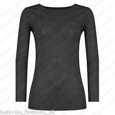 Ladies Women's Long Sleeve Sheer Mesh SEE THROUGH Plain Top T-Shirt Plus 8-20