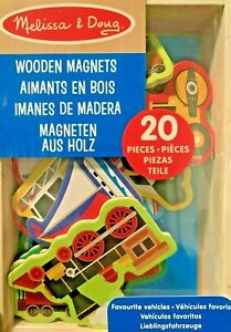 Melissa and Doug Favourite Vehicles Cars Wooden Magnets Set Toy