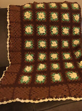 Vintage Handmade Crochet Afghan 3D Flowers Granny Squares Brown/Ivory/Green