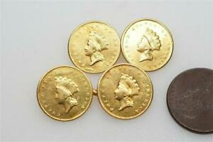 ANTIQUE 22K GOLD US ONE DOLLAR $1 LIBERTY DOLLAR COIN CUFFLINKS