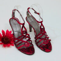 Tahari Red and Black Faux Snakeskin Strappy Heel Sandals US 7M