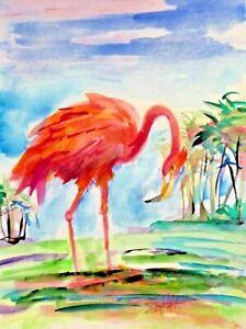 pink flamingo tropical bird marsh 12x9 watercolor art Delilah