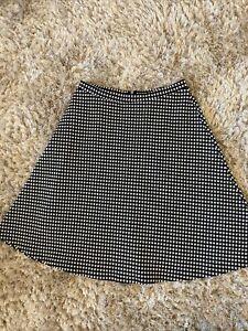 South Monochrome Black White Silver Thread Midi Skirt Size 12