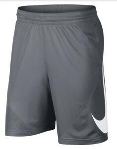 Nike HBR Iconic Swoosh Logo Basketball Shorts Gray Large 910704-065