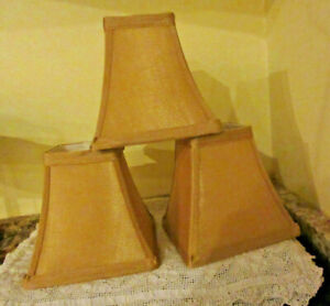 Lot of 3 Small Gold Silk Clip On Lamp Shades Flared Square Shape
