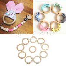 10Pcs 70mm Natural Wooden Rings DIY Crafts Connectors Circles Wood Teething Hoop