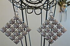 UNIQUE FUNKY STATEMENT SILVER LATTICE EARRINGS FORMAL BIRTHDAY GIFT