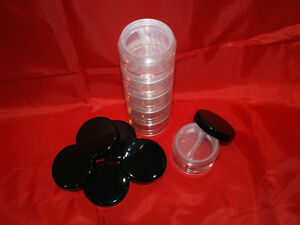 5 X 30ml High Quality Glass Like Cosmetic Rotating Sifter Jar / Stackable