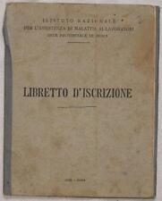 LIBRETTO D'ISCRIZIONE ISTITUTO NAZIONALE MALATTIA LAVORATORI 1948 PREVIDENZA