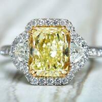 5Ct Radiant Cut Yellow Sapphire Iced Halo Engagement Ring 14K White Gold Finish