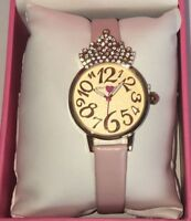 Betsey Johnson Womens Watch Pink Leather Band Crystal Crown New Princess